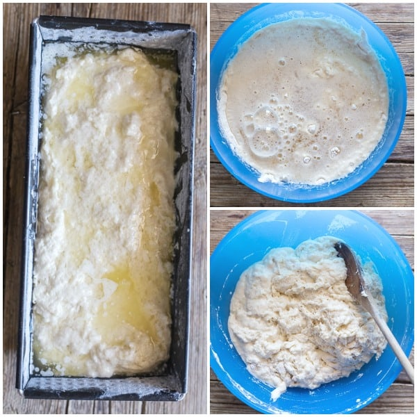 beer bread how to make, batter in the bowl, stirred batter, batter in the loaf pan before baking