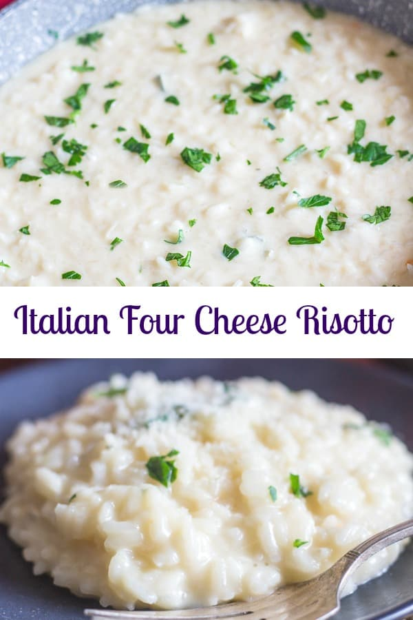 Italian Four Cheese Risotto, is a creamy cheese lovers dream. Rich and cheesy made with four of the best cheeses. And it definitely isn't as hard to make as you think! Try it and see. #risotto #Italiancuisine #cheese