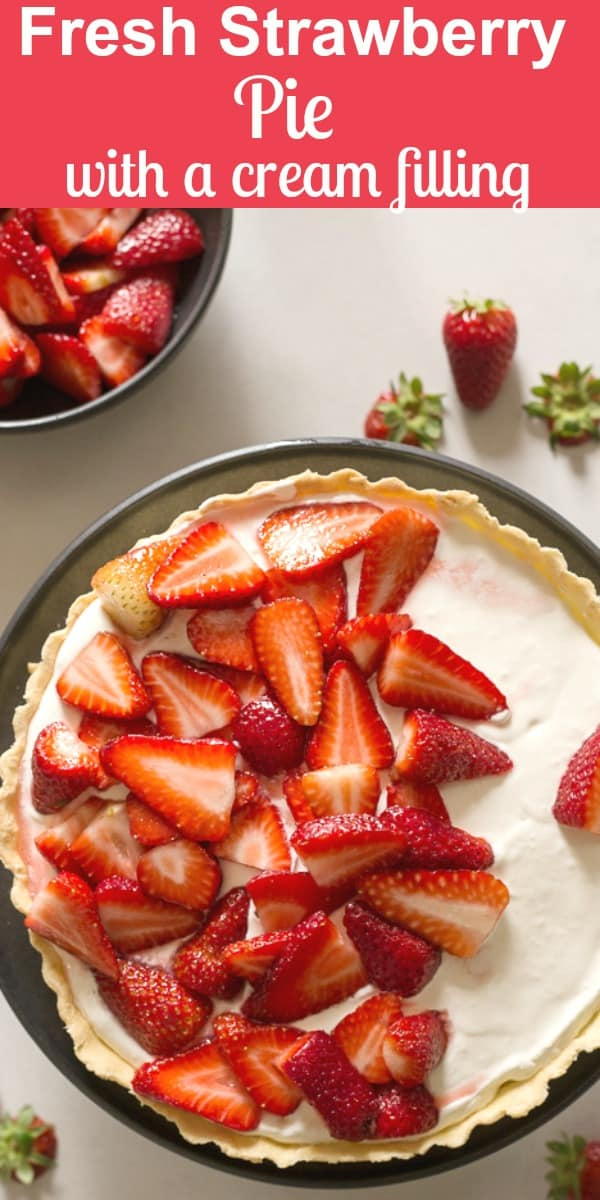 Fresh Strawberry Pie is so delicious, made with a creamy Mascarpone filling and a delicious not too sweet Fresh Strawberry Topping.  The perfect Dessert Recipe for any occasion.  #pie #strawberrypie #creamfilling #strawberries #dessert #mothersdaydessert
