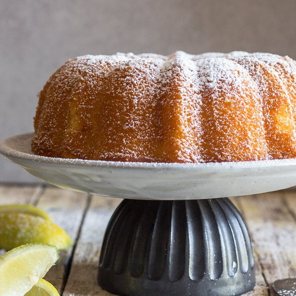 just baked lemon cake on a white plate