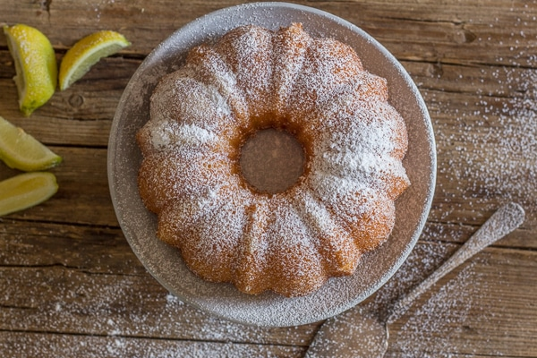 lemon cake with a dusting of powdered sugar