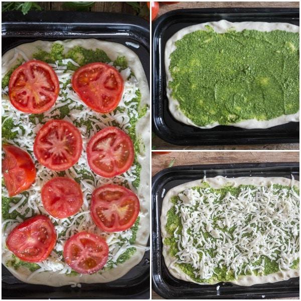 pesto pizza how to make pesto on the dough, mozzarella and tomatoes before baked