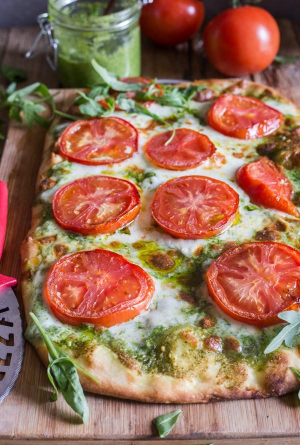 Pesto Pizza with Fresh Tomatoes & Mozzarella