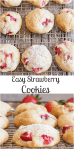 Easy Strawberry Cookies made with Fresh Strawberries and baked in 15 minutes. One bowl, no beaters necessary, soft, delicious cookies. The perfect summertime cookie recipe. #cookies #strawberrycookies #summerrecipe #fruitrecipe #berries #cookierecipe