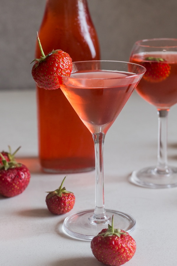 strawberry liqueur in a glass