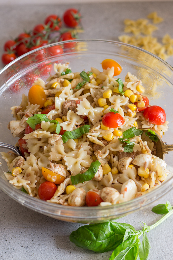 Pasta salad in a glass bowl