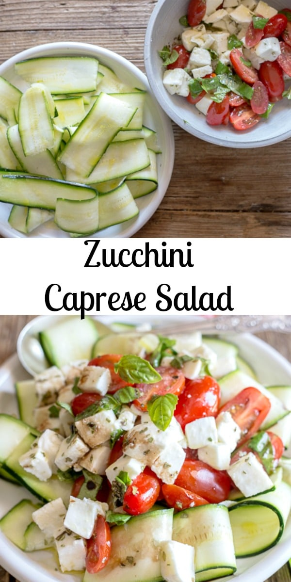 A simple easy to make Zucchini Caprese Salad, the perfect no cook Summertime main dish or side dish recipe. Ribbons of Zucchini, fresh tomatoes and mozzarella with a simple olive oil / balsamic dressing. #caprese #salad #zucchini #zucchinisalad #easyrecipe #Italianrecipe #capresesalad #mozzarella