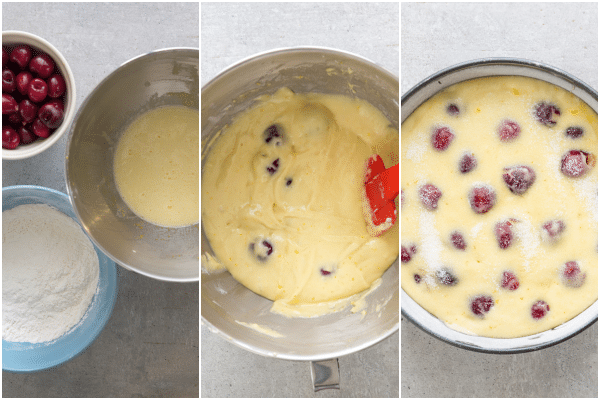 how to make a cherry cake the ingredients, the batter and ready for baking in the pan