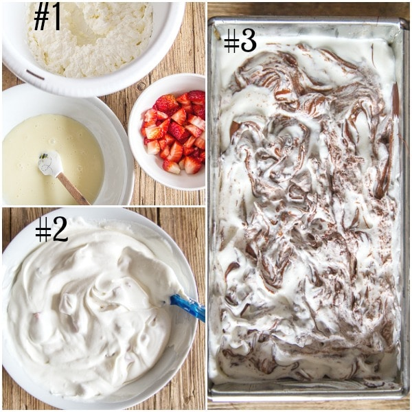 how to make chocolate ripple ice cream, ingredients, mixed in a bowl and before freezing in a loaf pan