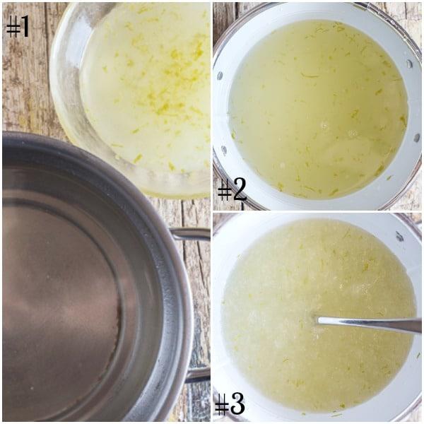 granita how to make sugar water mixture, starting to freeze