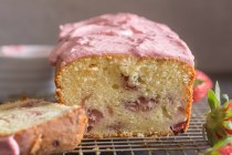 strawberry bread on a wire rack