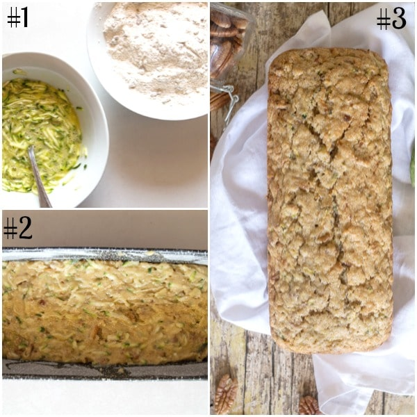 zucchini bread how to make, ingredients, raw in the pan and baked on a white napkin