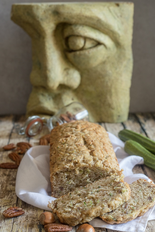 zucchini bread with sculpture in the background