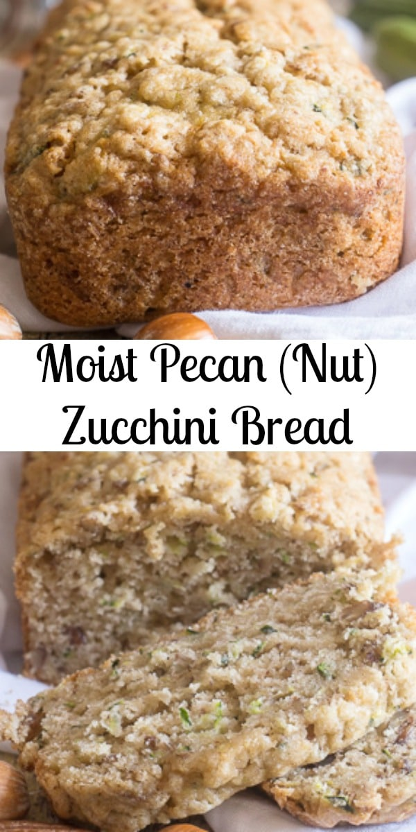 A moist and easy Zucchini Bread filled with pecans. The perfect snack or dessert bread.Make the best sweet loaf recipe with summer fresh Zucchini. #zucchinibread #sweetloaf #snack #breakfast #zucchini #dessert #summerrecipe