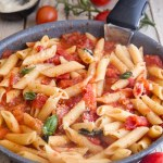 fresh tomato sauce with pasta in a pan
