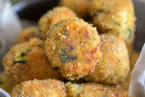 up close zucchini bites