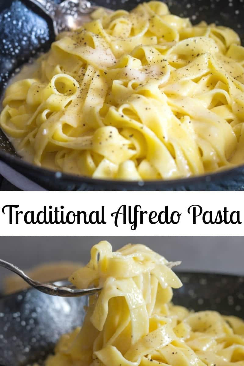 Alfredo Pasta, the traditional recipe, made with only 3 ingredients, fettuccine, parmesan cheese and butter. 15 minutes and Dinner is served. #alfredopasta #fettuccinealfredo #pasta #italianrecipe #maindish