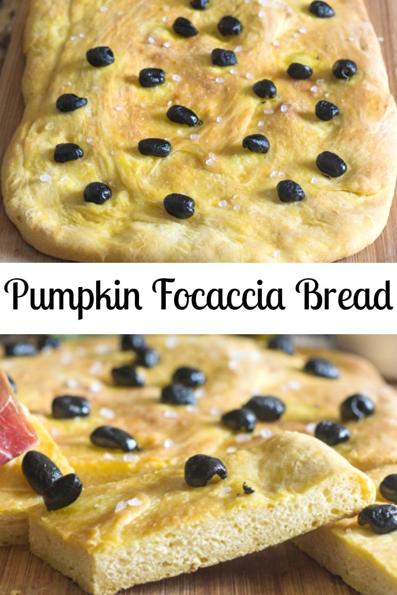 A soft Focaccia Bread with a subtle taste of pumpkin. Topped with black olives a drizzle of olive oil and a sprinkle of salt. Easy and delicious. #focaccia #pumpkin #focacciabread #Italianrecipe #pizza