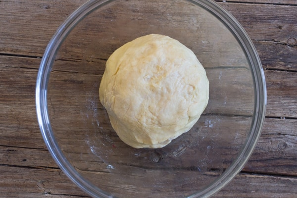 Focaccia bread dough before rising
