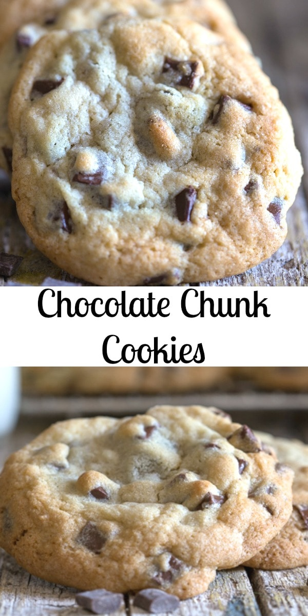 These Chocolate Chunk Cookies are fast and easy to prepare, mix and bake. So full of chocolate no one will be complaining that they didn't get a chip! #chocolatechipcookies #cookies