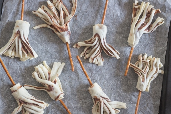 witches' brooms puff pastry recipe ready for baking