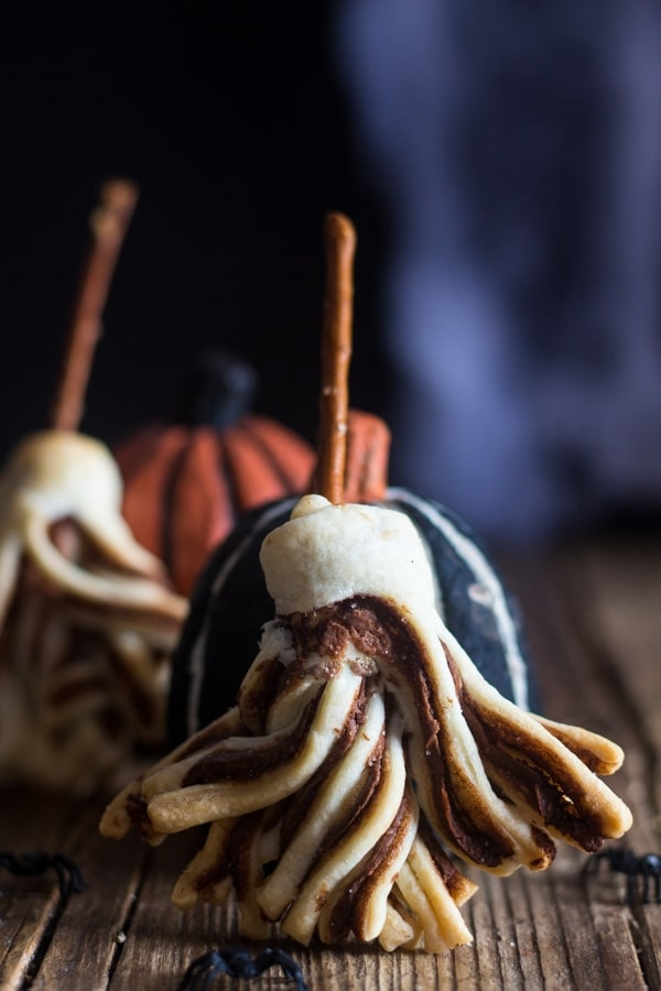 puff pastry recipe, witches brooms leaning against a pumpkin