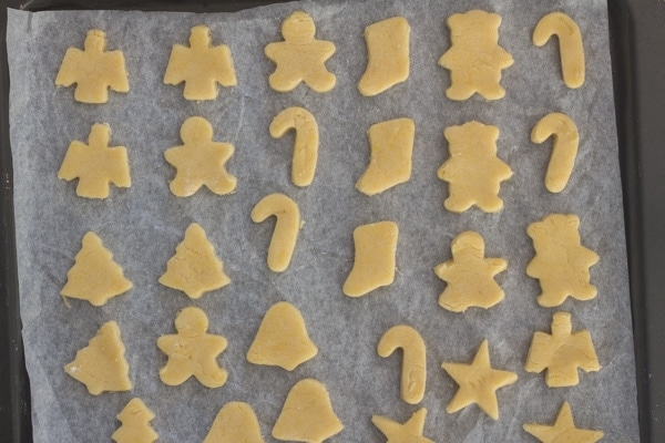 cut out almond cookies ready for baking