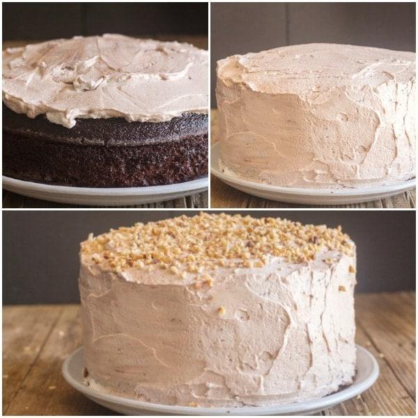 chocolate cake how to make icing the cake