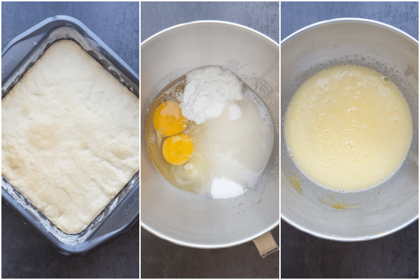 lemon squares how to make the baked base, the ingredients for the lemon filling and the lemon filling made