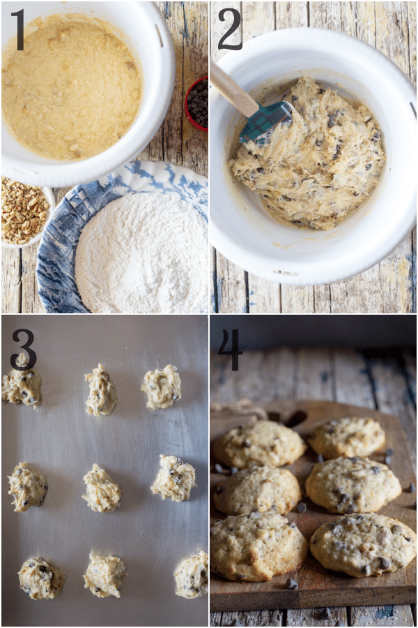 how to make banana chocolate chip cookies the ingredients, mixing the batter on the cookie sheet and baked