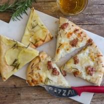 potato pizza slices on a white board