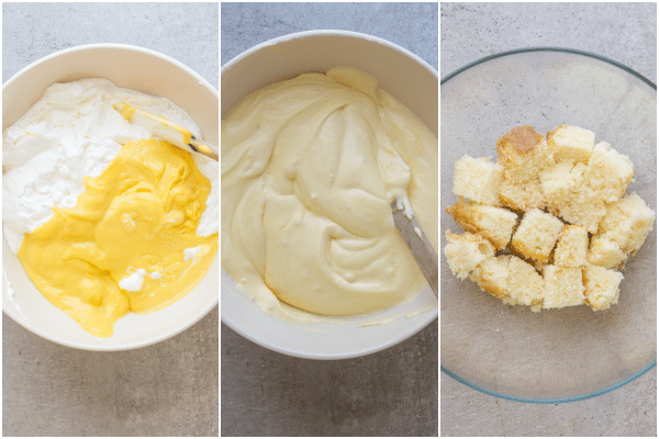 making the pastry cream and layering in the bowl