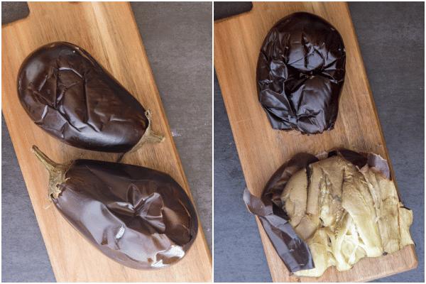 eggplant roasted and skinned to make eggplant meatballs