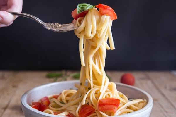 a fork full of pasta alla checca