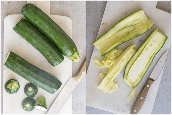 stuffed zucchini how to make slicing the zucchini and boiled
