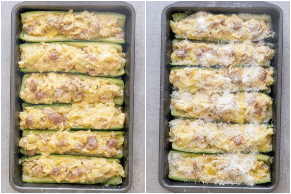 stuffed zucchini stuffed in a pan and stuffed with parmesan cheese in a pan ready to bake