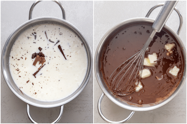 making the chocolate filling for the chocolate pie