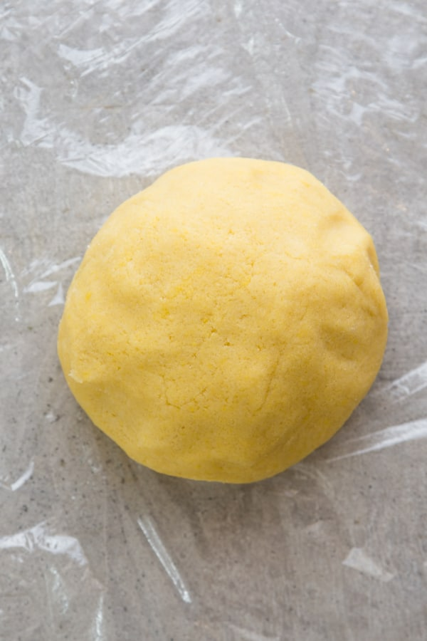 dough ready to be wrapped with plastic