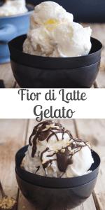 A simple Italian Ice cream made with just three ingredients, milk, cream and sugar. It's also the perfect base for adding your favourite flavour to. #icecream #gelato #fiordilatteicecream #Italiandessert #frozendessert