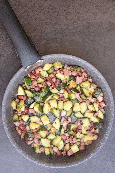 frying zucchini & pancetta for the baked frittata