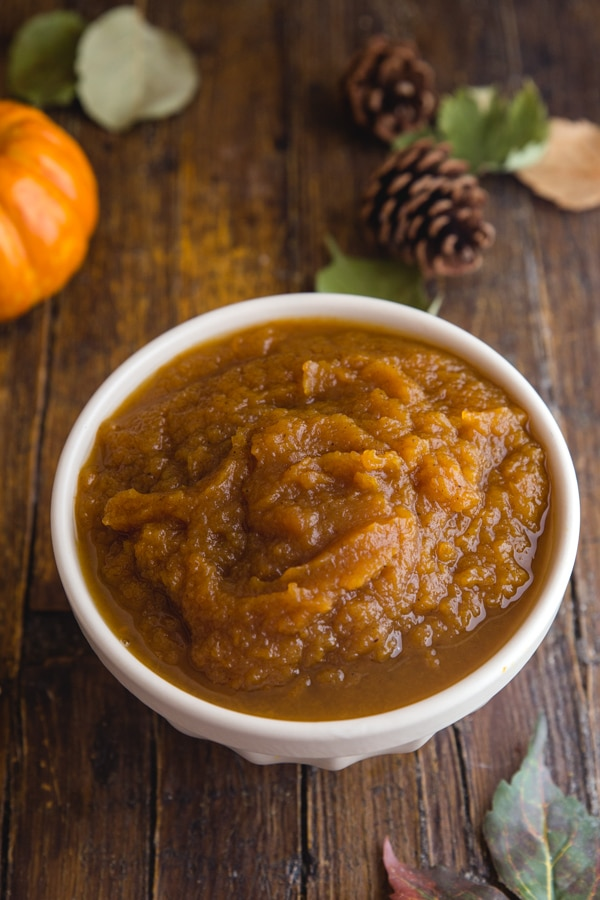 pumpkin butter in a white bowl