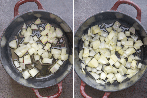 sauteeing onion until transparent for beef stew