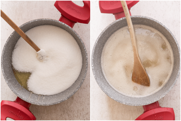 mixing the sugar and honey in a red pot until dissolved