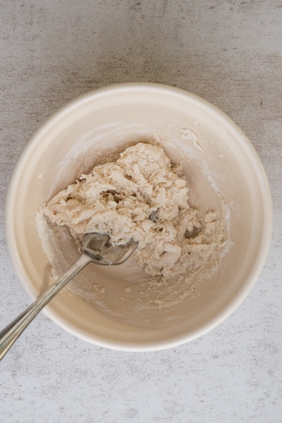 making the biga in a small bowl