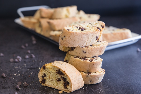 stacked chocolate chip biscotti