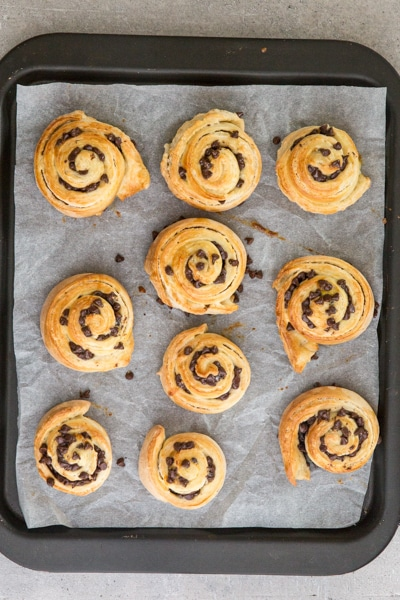 baked rolls on the cookie sheet