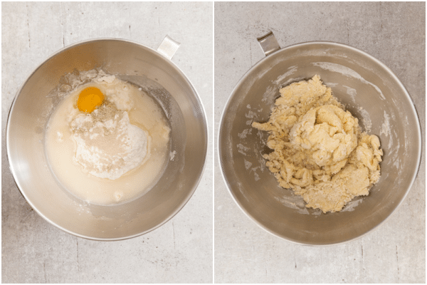 adding the ingredients in the bowl and kneading it into a dough