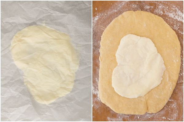 roll out the butter, chill and place in the middle of the dough