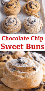 These delicious Chocolate Chip Sweet Buns, known as Girelle in Italian, are made with a crunchy soft sweet dough & a chocolate chip filling. #chocolatechipsweetbun #sweetbuns #breakfast #Cinnamonbuns #dessert #chocolate
