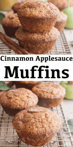These simple Applesauce Muffins make the perfect breakfast or snack idea. A fast and easy muffin recipe made with applesauce and cinnamon. #applesaucemuffins #muffins #cinnamonmuffins #snack #breakfast